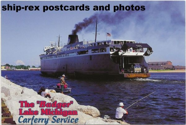 BADGER (Lake Michigan Carferry Service) postcard (a)